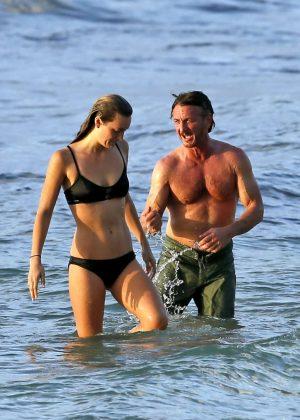 Leila George in Bikini with Sean Penn on vacation in Hawaii