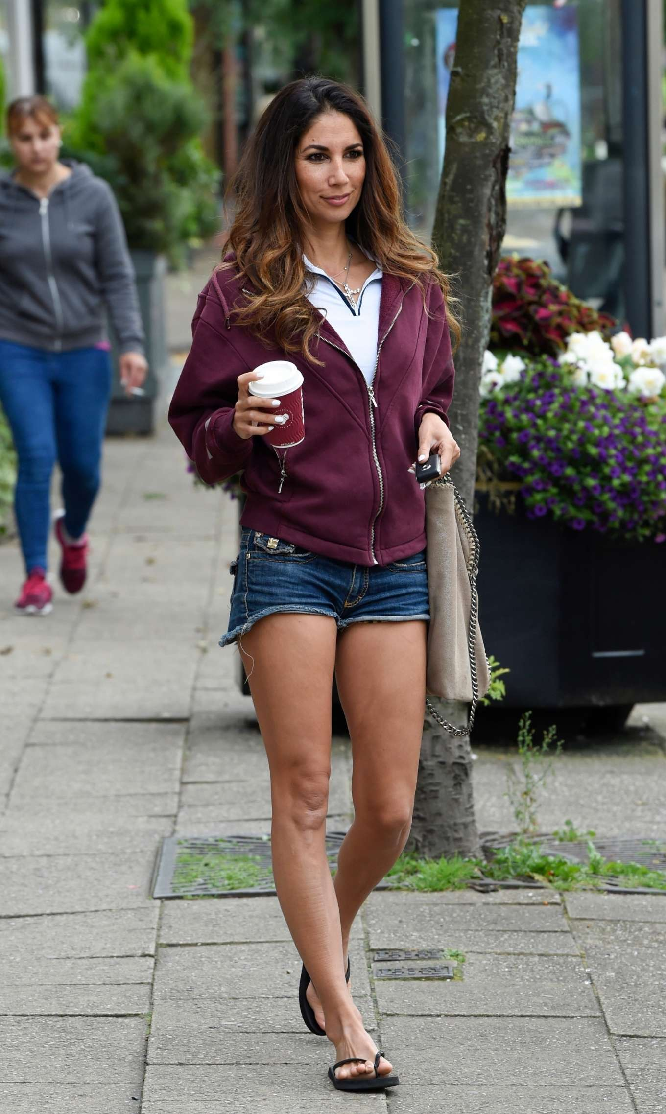 Leilani Dowding in Denim Shorts - Out in Cheshire