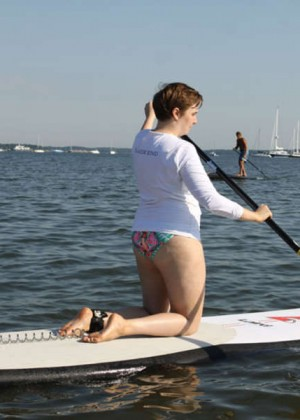 Lena Dunham in Bikini at 'Paddle For Pink' Event in Sag Harbor