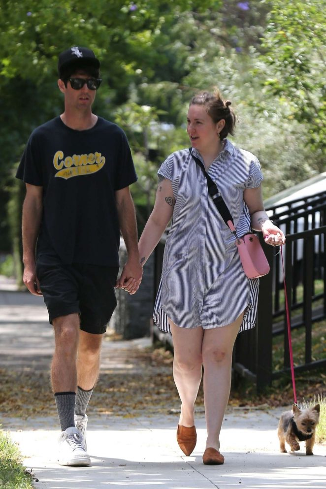 Lena Dunham with her boyfriend out in Los Angeles