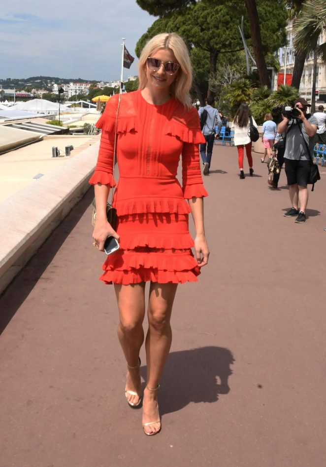 Lena Gercke in Red Dress out in Cannes