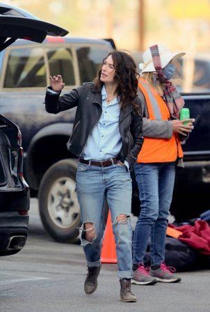 Lena Headey - Filming 'Gypsy Moon' in Los Angeles