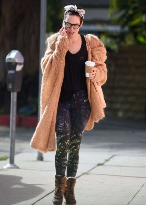 Lena Headey in Tights at Lousey Nitpickers Salon in LA