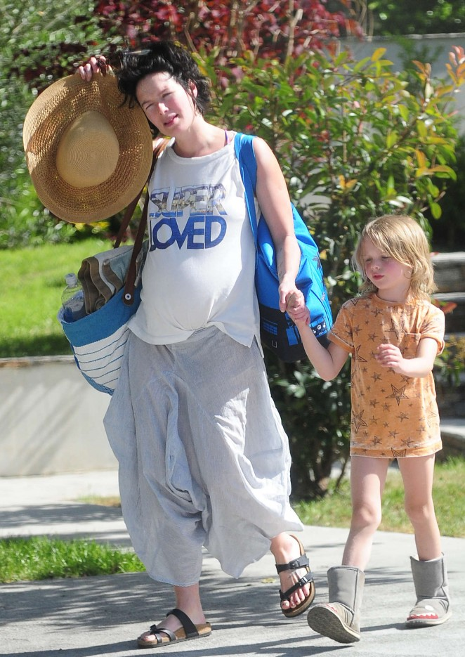 Lena Headey - Leaving a pool party with her son in Los Angeles