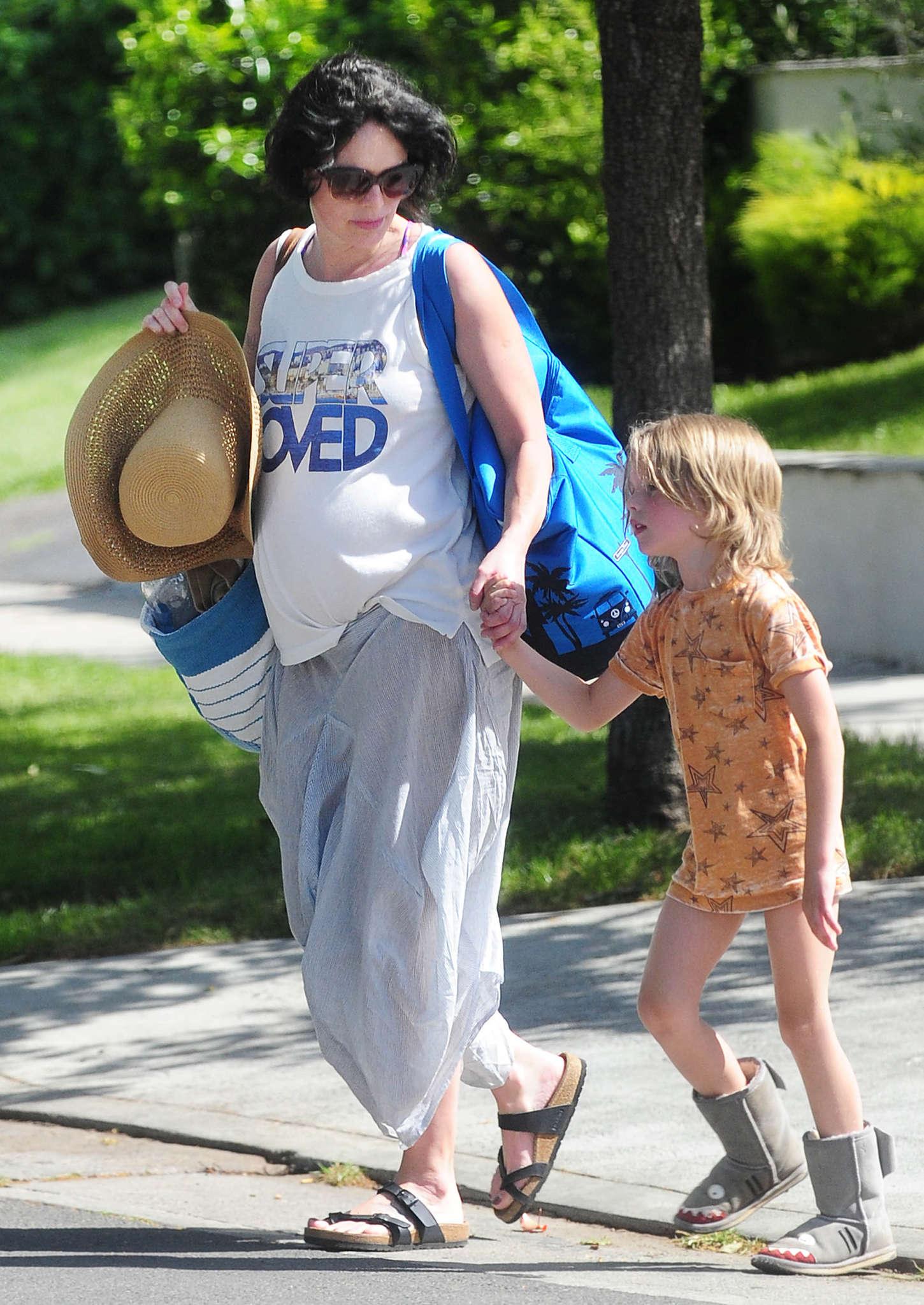 Lena Headey 2015 : Lena Headey: Leaving a pool party with her son -04