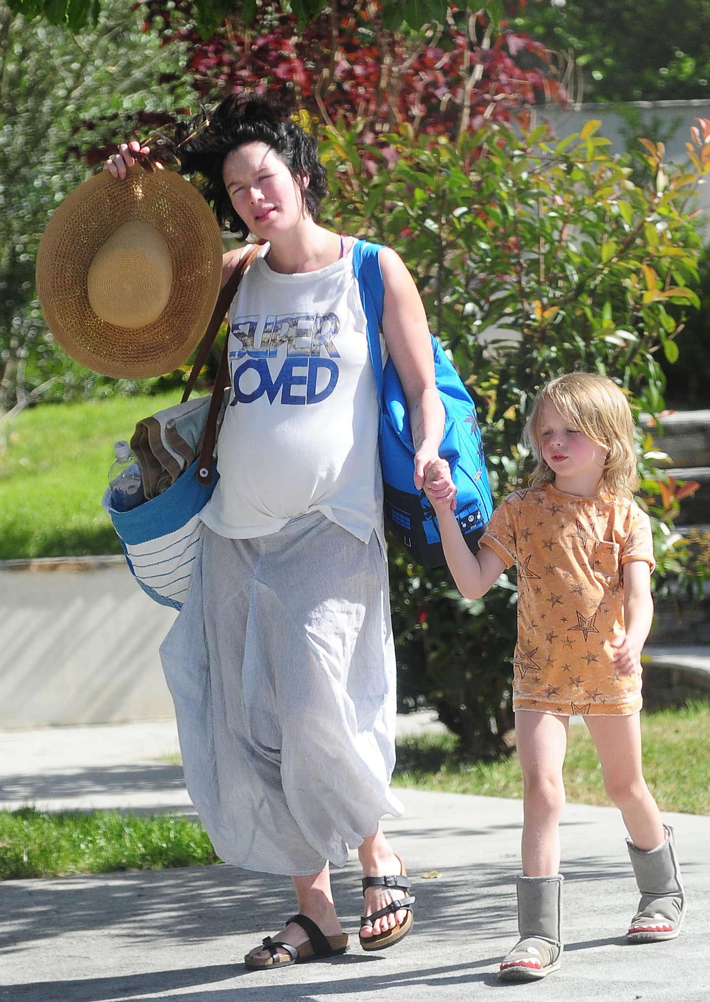 Lena Headey 2015 : Lena Headey: Leaving a pool party with her son -06