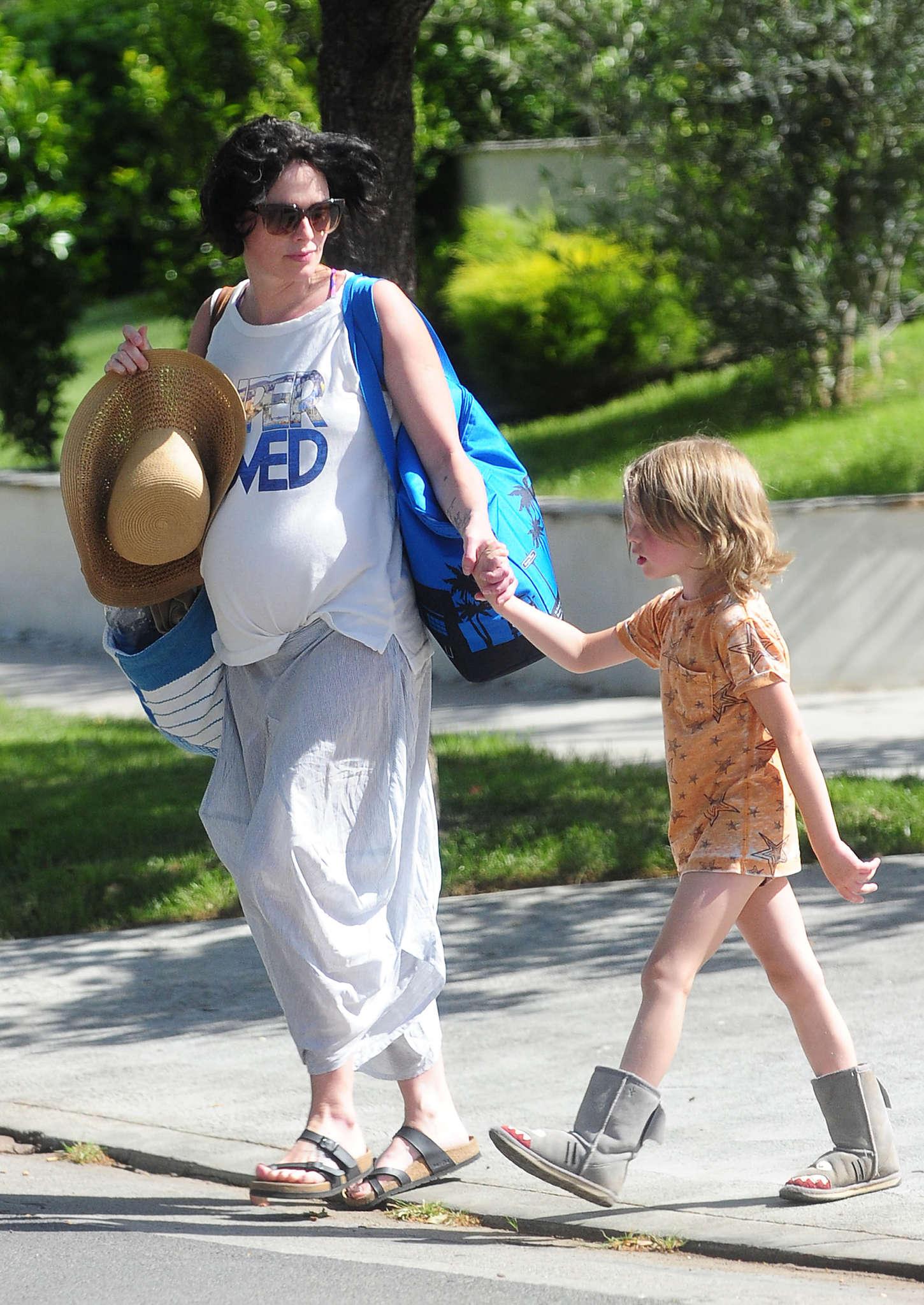 Lena Headey 2015 : Lena Headey: Leaving a pool party with her son -07