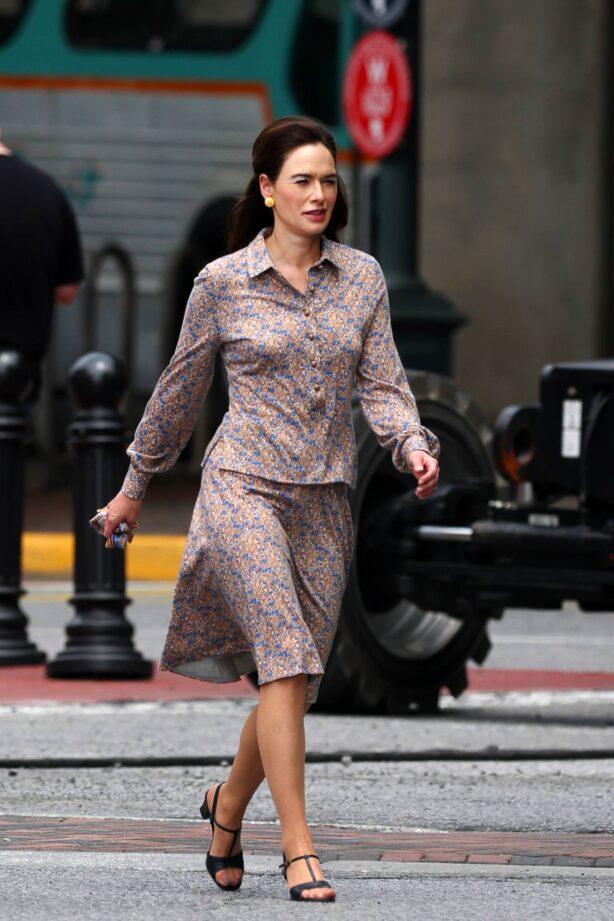 Lena Headey - on set of 'White House Plumbers' in Poughkeepsie - New York