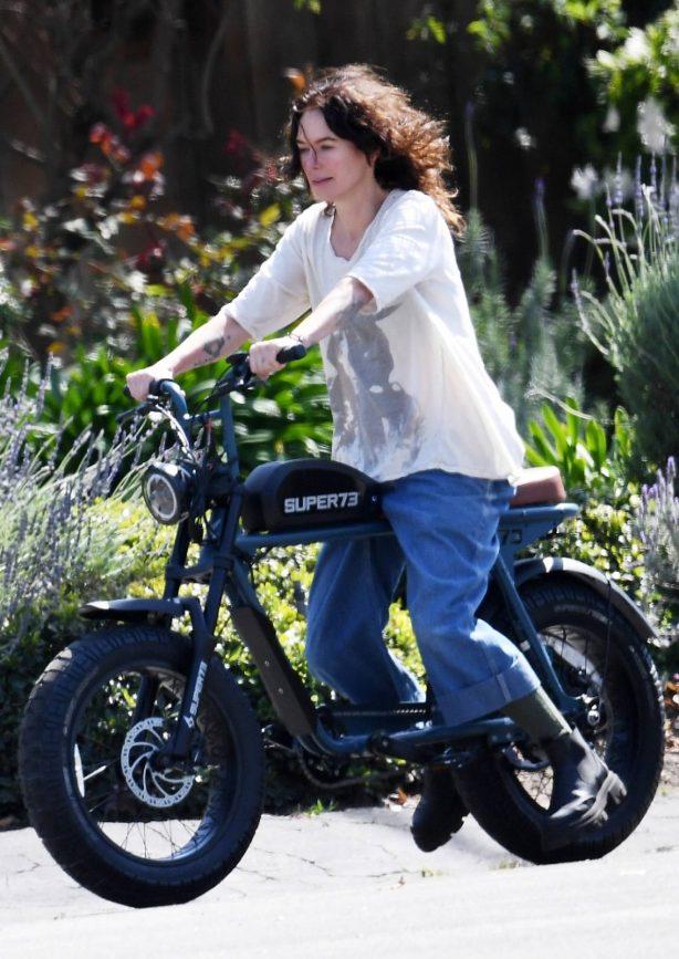 Lena Headey - Seen on a electric motorbike in Los Angeles