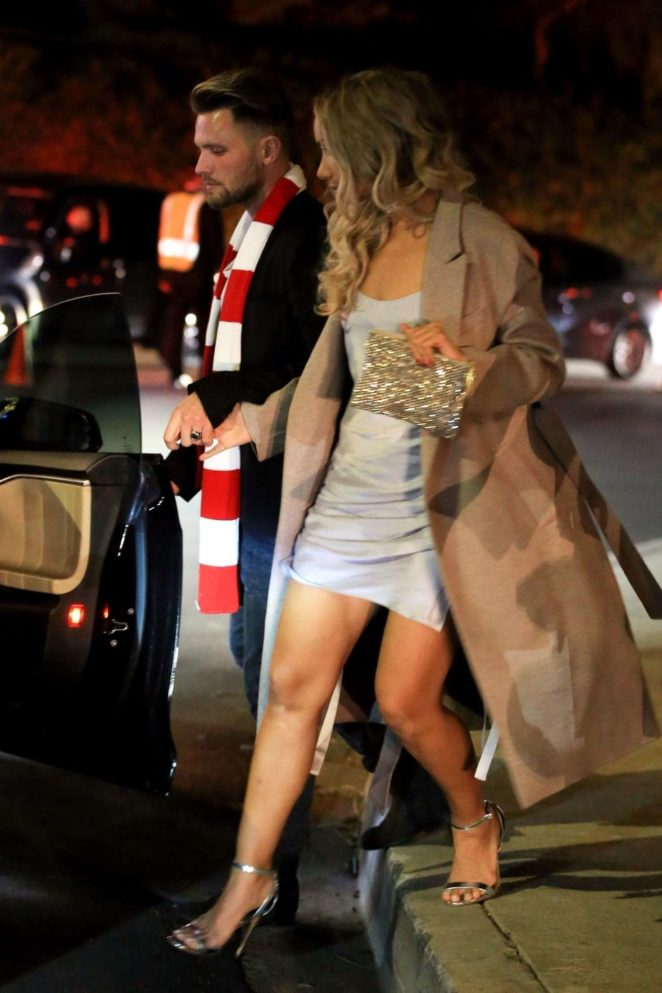 Leona Lewis and boyfriend Dennis exiting a holiday party in Beverly Hills