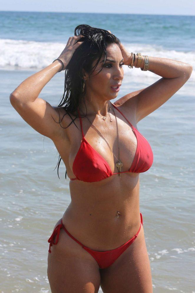 Liana Mendoza in Red Bikini on the beach in Malibu