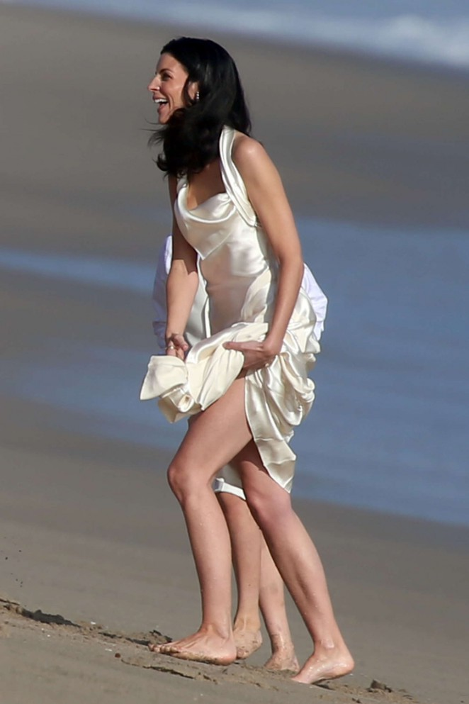 Liberty Ross at her wedding ceremony on the beach in Malibu