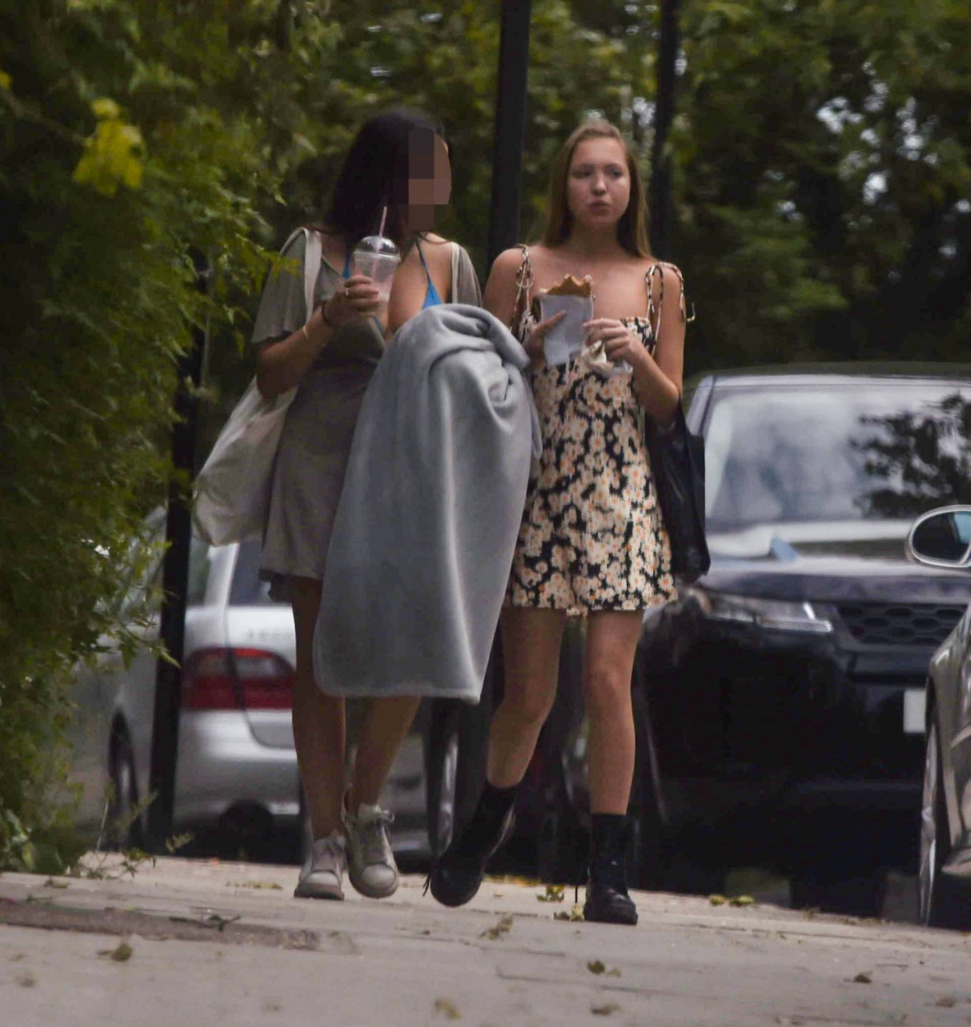 Lila Grace Moss with a friend out and about in North London