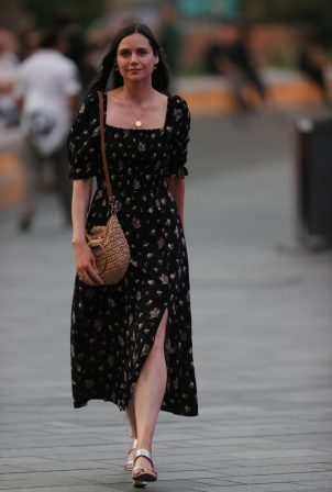 Lilah Parsons - In floral maxi dress in London