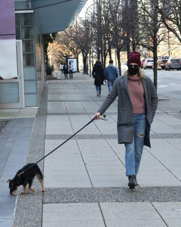 Lili Reinhart - Seen while takes dog Milo for a walk