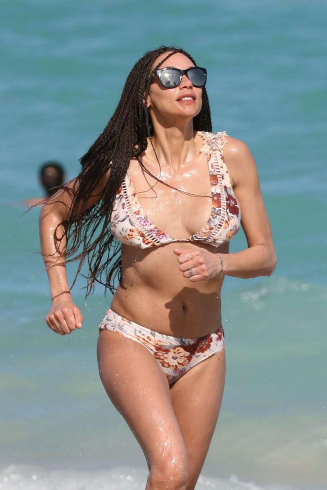 Lilly Becker in Floral Bikini on the beach in Miami