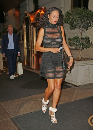 Lilly Becker in Black Mini Dress out in NY