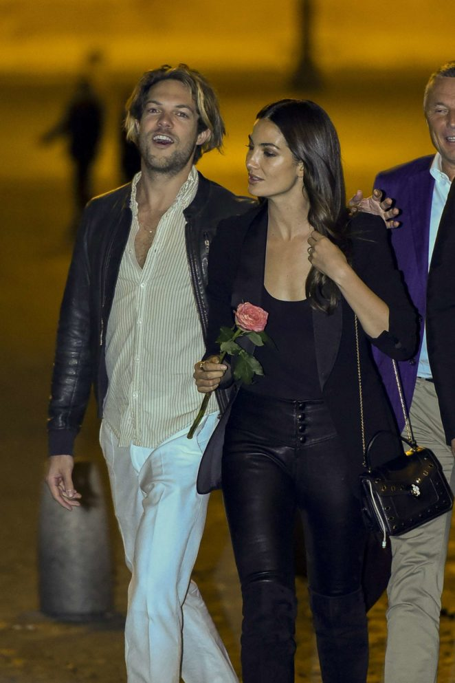 Lily Aldridge and Caleb Followill out for dinner in Rome