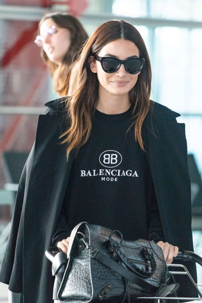 Lily Aldridge at Heathrow Airport in London