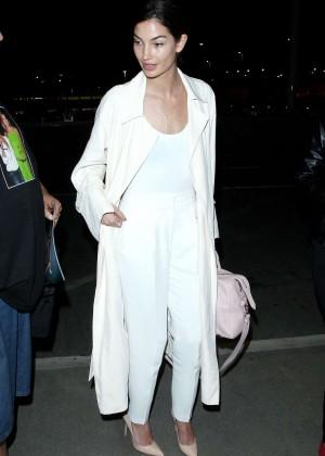 Lily Aldridge in White at LAX Airport in LA