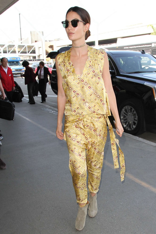 Lily Aldridge at LAX Airport in Los Angeles