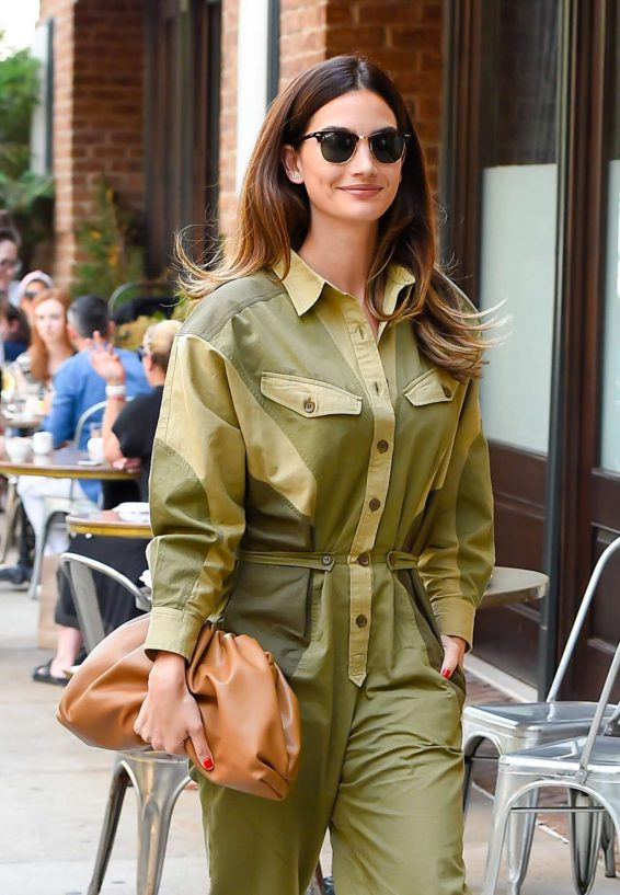 Lily Aldridge in Green Outfit - Out in New York City