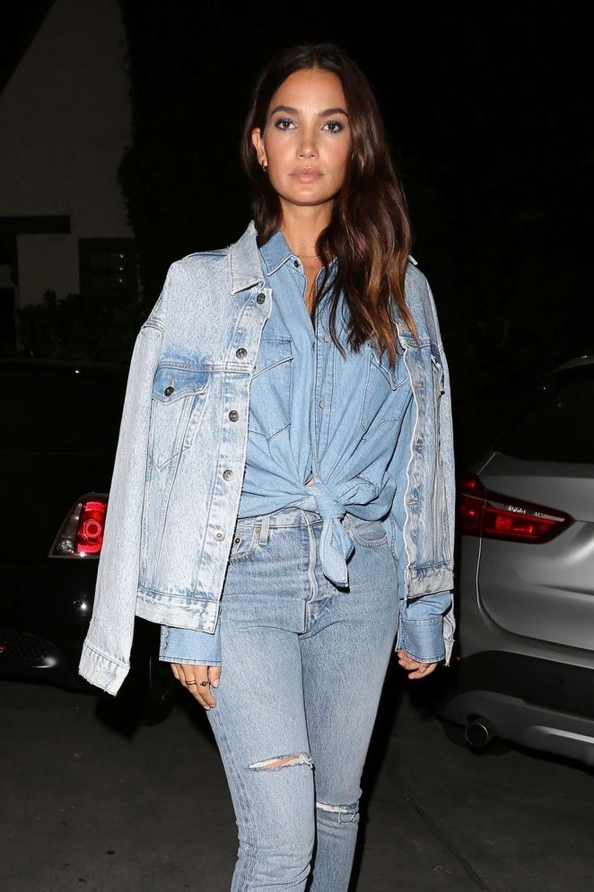 Lily Aldridge in Jeans - Leaves Catch LA in West Hollywood