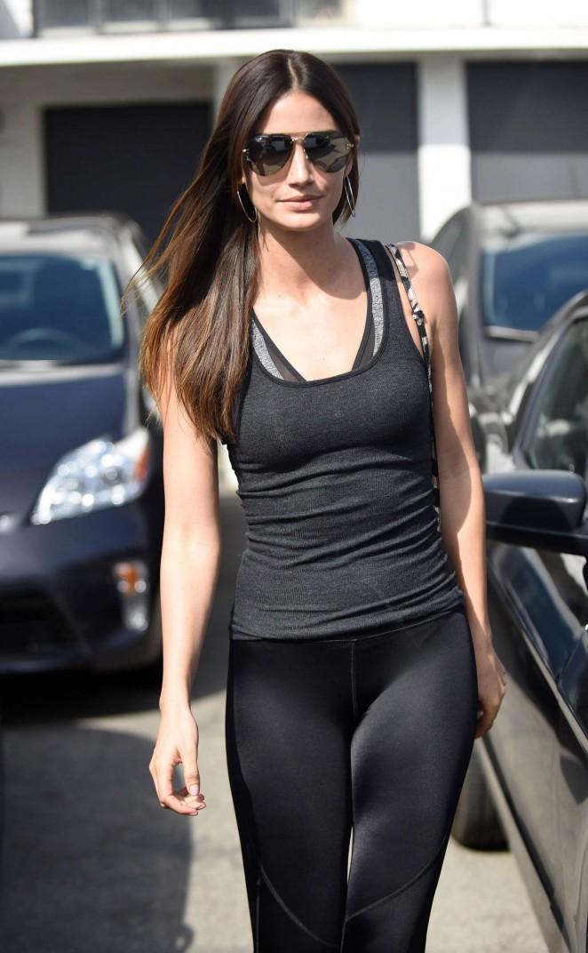Lily Aldridge in Tights Leaving the salon in Los Angeles
