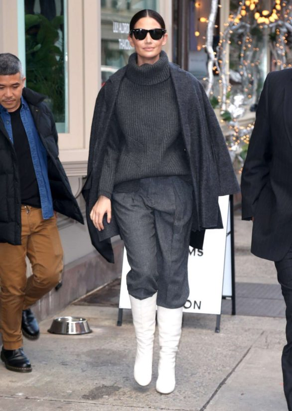 Lily Aldridge in White Boots - Leaves her perfume pop up in New York City