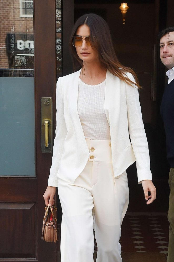 Lily Aldridge in White Suit out in New York
