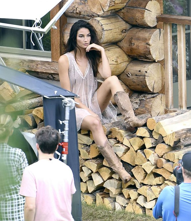 Lily Aldridge Shooting a commercial for Victoria Secret's upcoming holiday catalog in Aspen