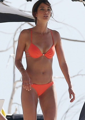 Lily Aldridge in Bikini on the beach in Puerto Rico
