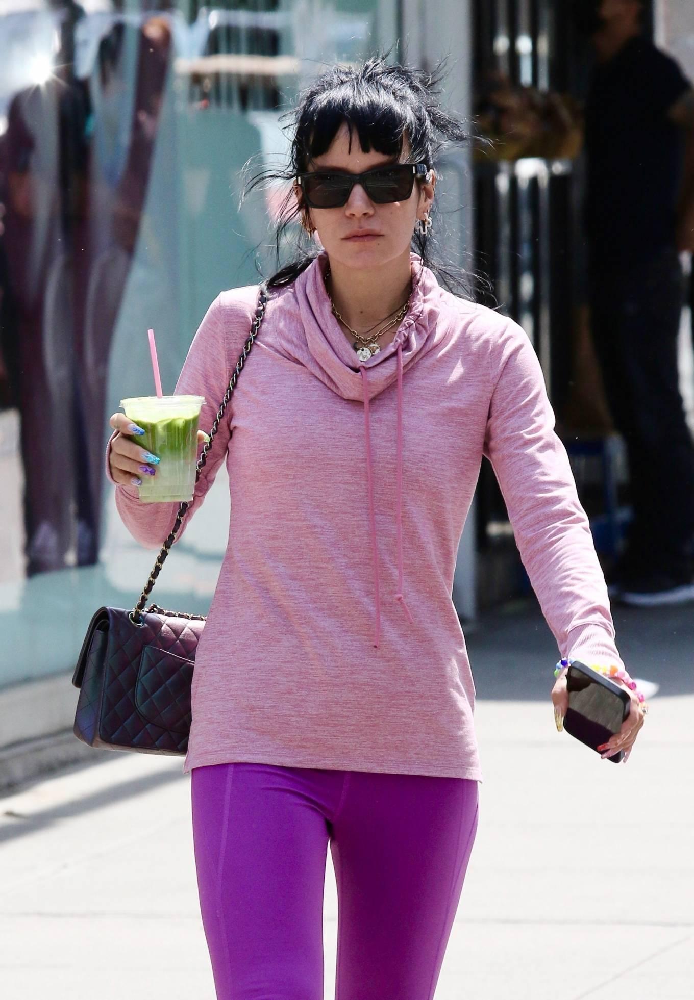 Lily Allen 2021 : Lily Allen – In a purple leggings out in Manhattan's Soho area-07