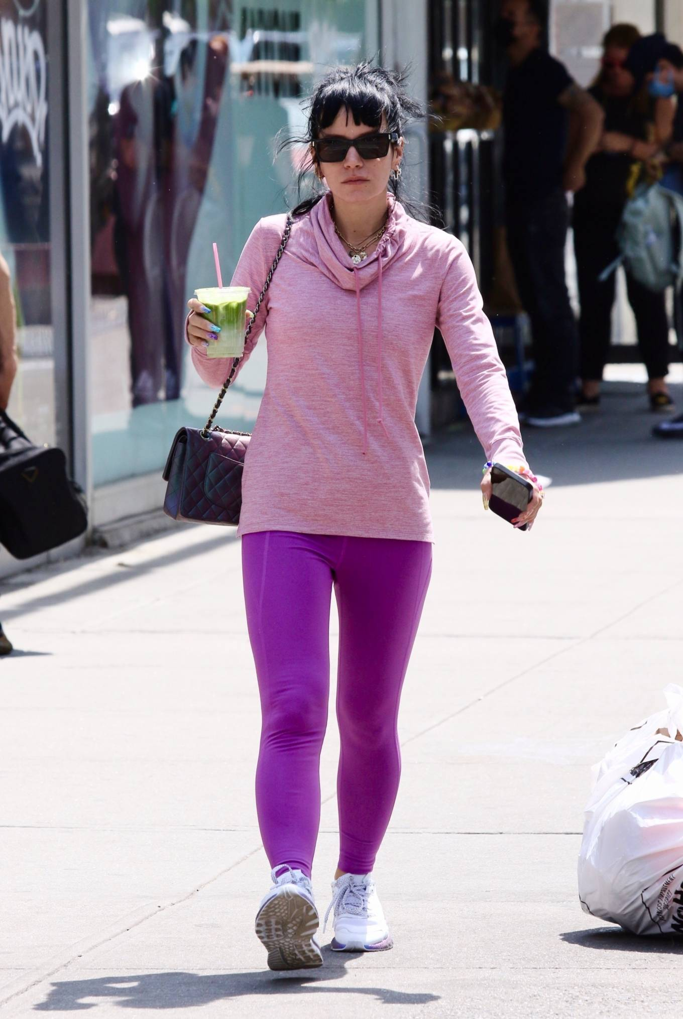 Lily Allen 2021 : Lily Allen – In a purple leggings out in Manhattan's Soho area-12