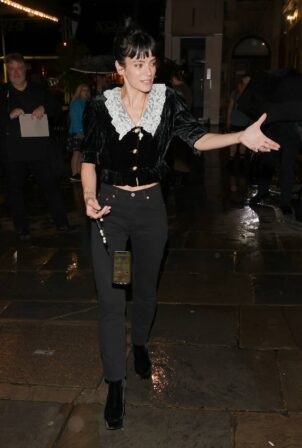 Lily Allen - In a white collard top and denim seen after A Ghost story theatre production in London