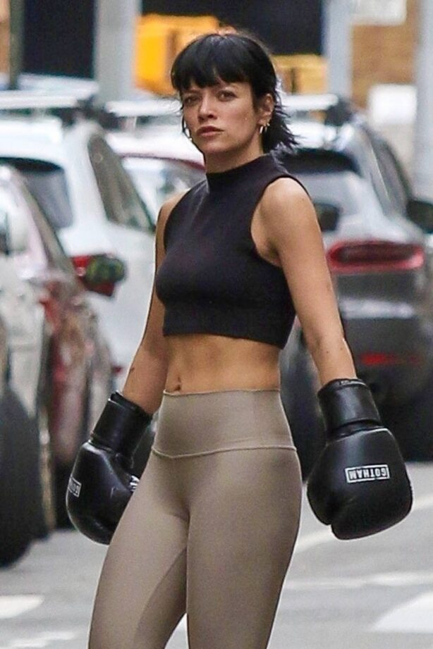 Lily Allen - Wears boxing gloves while workout at a Downtown Manhattan Gym
