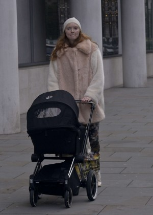 Lily Cole - Walking her new baby in London