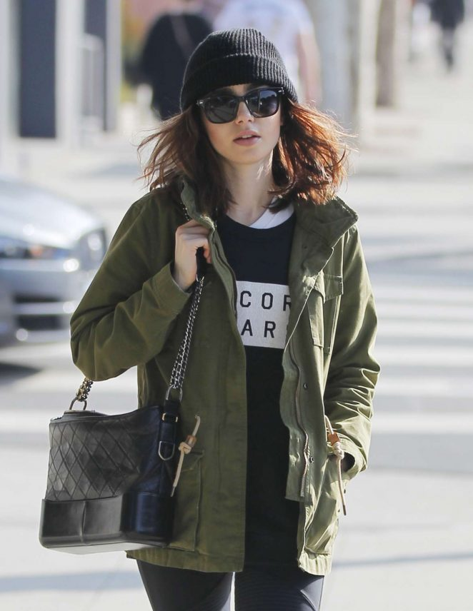 Lily Collins after a morning workout in Beverly Hills