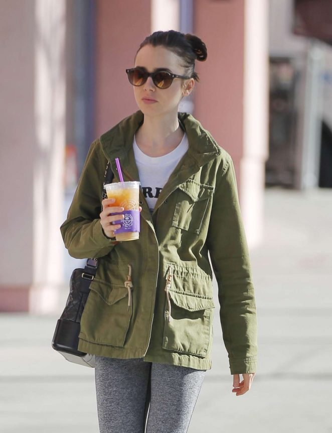 Lily Collins after a workout in Beverly Hills