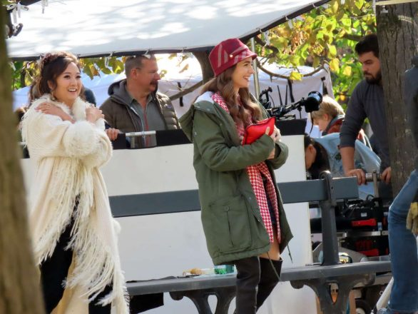 Lily Collins and Ashley Park - Filming 'Emily in Paris' in Paris