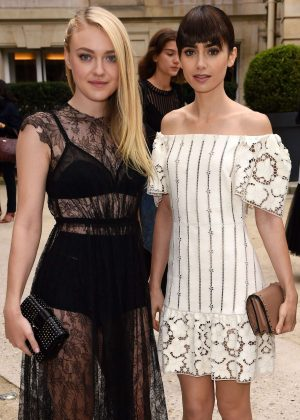Lily Collins and Dakota Fanning - Valentino Fashion Show SS17 in Paris