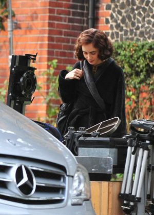 Lily Collins and Nicholas Hoult - Filiming 'Tolkien' in Liverpool