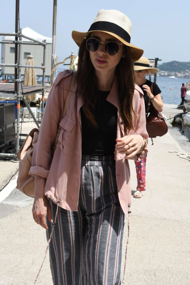 Lily Collins - Arrives at Hotel Regina Isabella in Ischia Porto