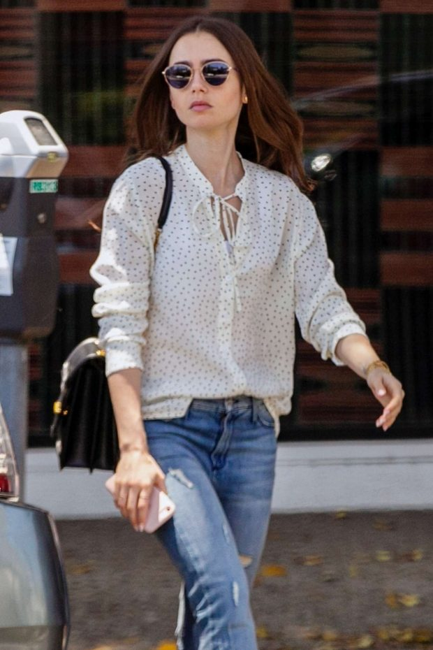 Lily Collins - Arrives at il Piccolino Italian restaurant in West Hollywood
