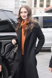 Lily Collins - Arriving at Global studios in London