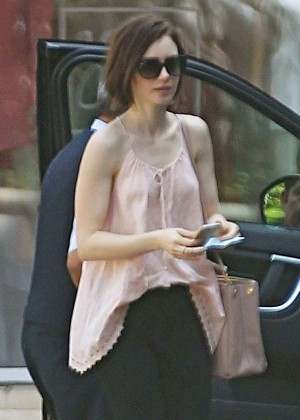 Lily Collins - Arriving at Peninsula Hotel in Beverly Hills