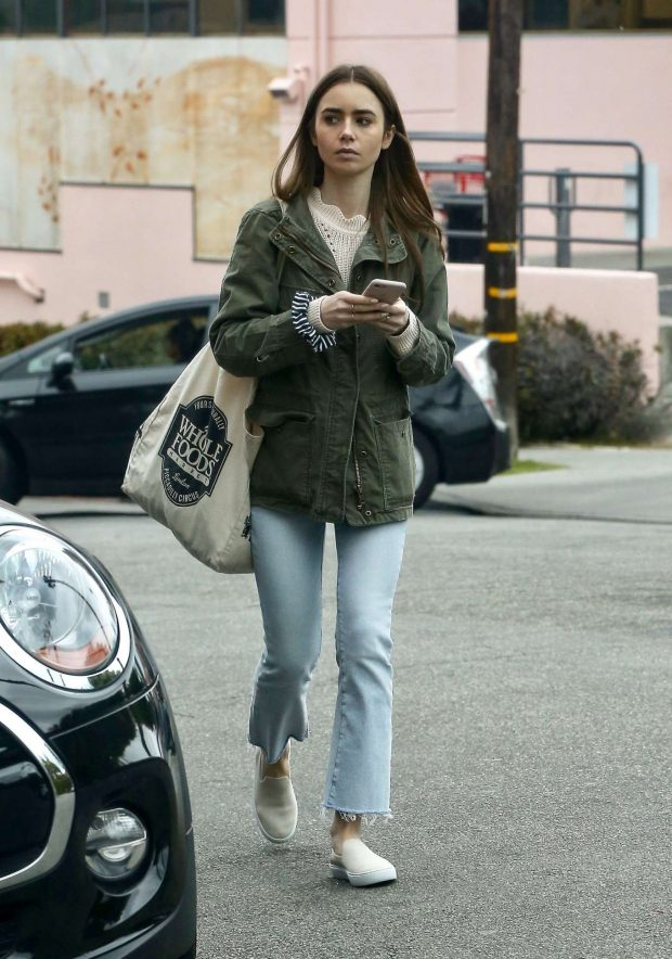 Lily Collins at a gas station in West Hollywood -02