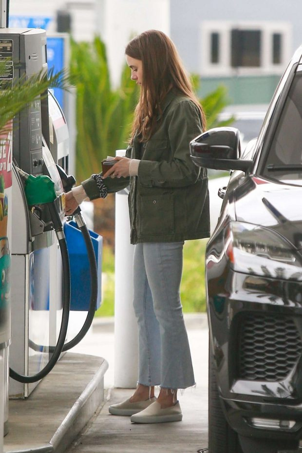 Lily Collins at a gas station in West Hollywood -03