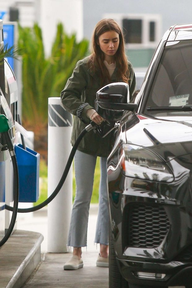 Lily Collins at a gas station in West Hollywood
