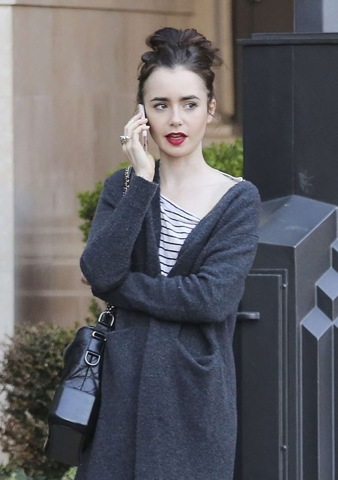 Lily Collins at Blue Ribbon Sushi Bar in West Hollywood